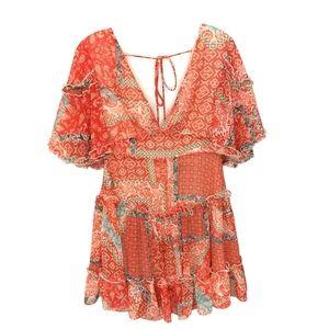 Etiquette Boho Ruffle Peasant Plunge Tiered Dress